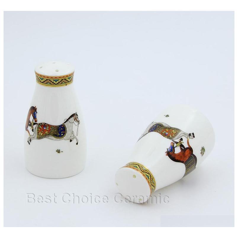 Porzellan-Salz und Pfeffer-Shakers God Pferde Desi Bone China in Salzflasche Pfefferflasche Bone China Salt Jllsww Dh_Niceshop