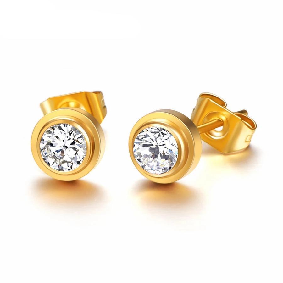 Üst marka altın gümüş renk klasik zirkon kristal saplama küpe kadın için 316L paslanmaz çelik moda takı asla solmaya asla