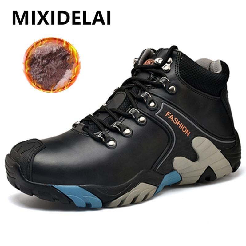 Mixidelai boyutu 38-46 moda su geçirmez kar lace up erkekler ayak bileği çizmeler sıcak kış ayakkabı erkek 201126