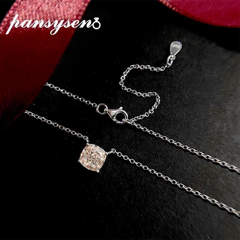 Pansysen Classic 925 sterling silver 7mm creato coeta moissanite gemma di matrimonio collana pendente di fidanzamento all'ingrosso gioielli gioielli Belle Z1126