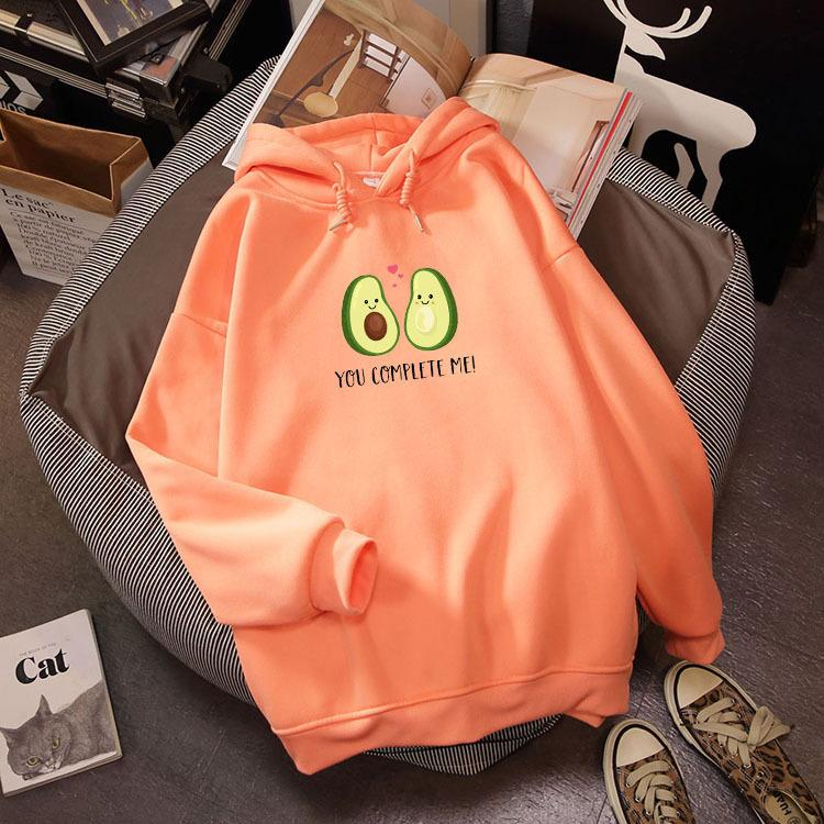 New Avocado Print Letter Kawaii Sweatshirt Winter Streetwear Harajuku Oversize Hoodie Female Kpop Hoody Ladies Cute Long Sleeve
