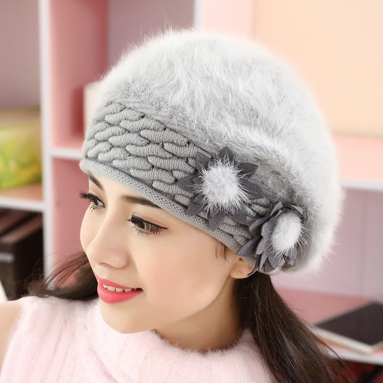 Korean mother female rabbit hair autumn and winter fashion pure color moon warm knitted wool hat