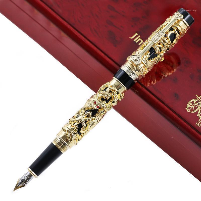الفاخرة jinhao المعادن 3d التنين فينيكس نافورة القلم خمر 0.5 ملليمتر بنك غير صنبور الأحبار أقلام الكتابة مكتب لوازم الأعمال هدية 1
