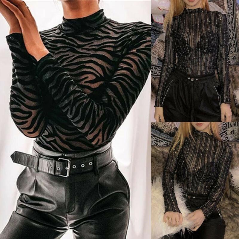 Donne Sexy See-through Tangsuitsuits Tute Pagliaccetti Bodycon Manica Lunga Zebra Bisogna Leotard Top Body Body Suit Femminile Tute