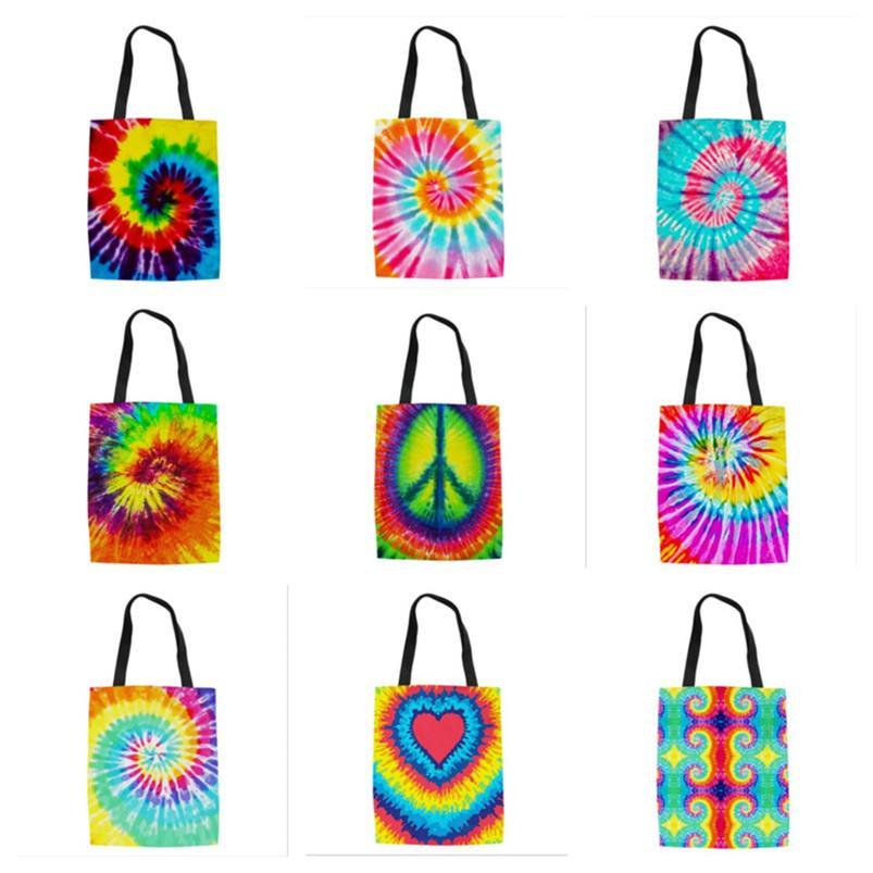 Fashion Tie-dyed Handbag Women Canvas Bags Rainbow Cactus Printing Totes Lady Travel Storage Bags Large Capacity Purse Shoulder Bag E120802