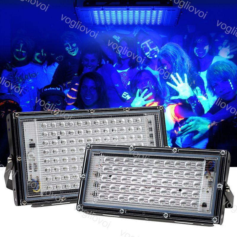 Proiettori 395nm Lampada da polimerizzazione UV 50W 100W 220V 240V impermeabile IP65 PC + alluminio esterno per fluorescente fluorescente fase luci DHL