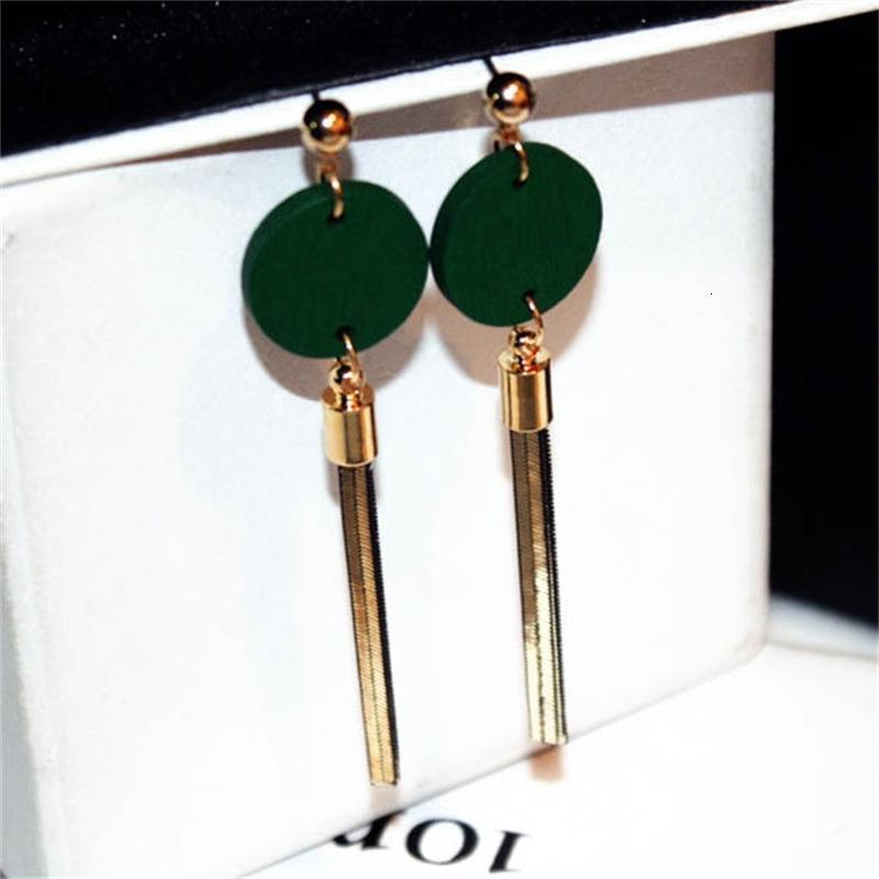 New black and green 2-color log trend long temperament circle Tassel Earrings female e001334
