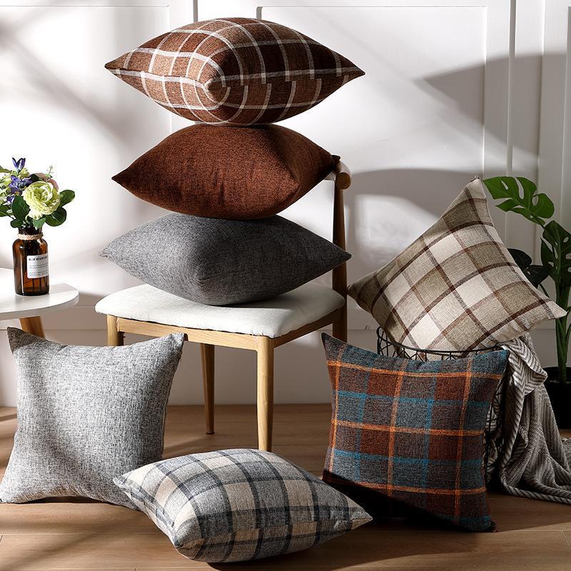 Подушка чехол коричневая сетка домой осень декоративные подушки чехлы мягкий материал рождества