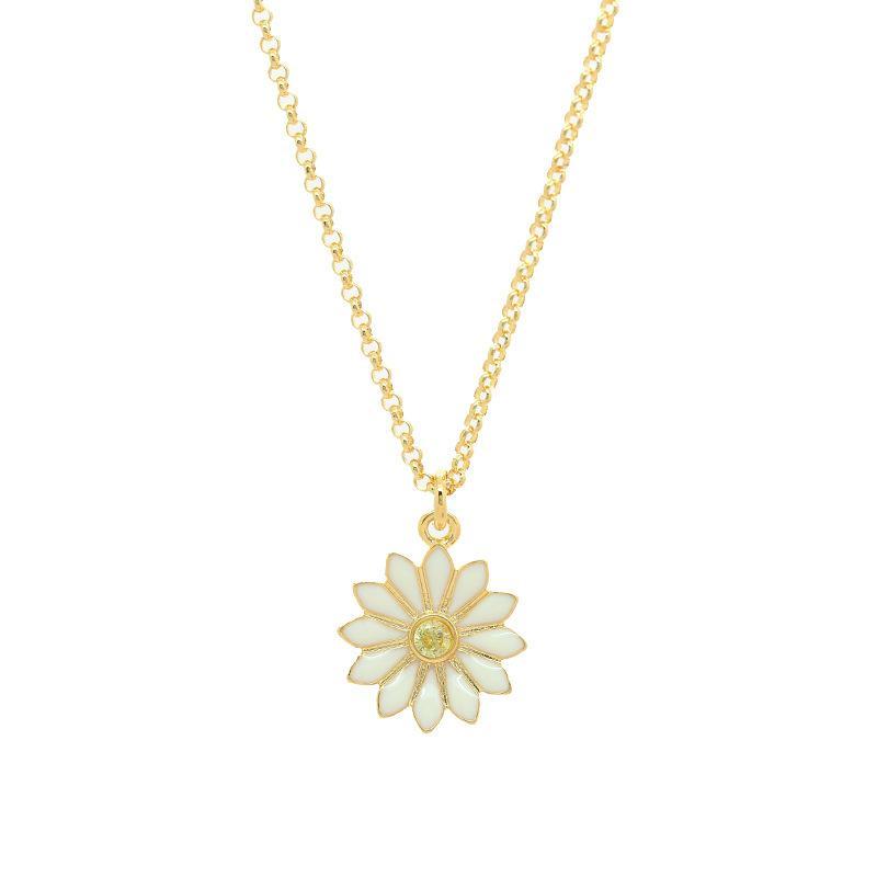 Kısa Beyaz Çiçek Daisy Premium Kolye C09F