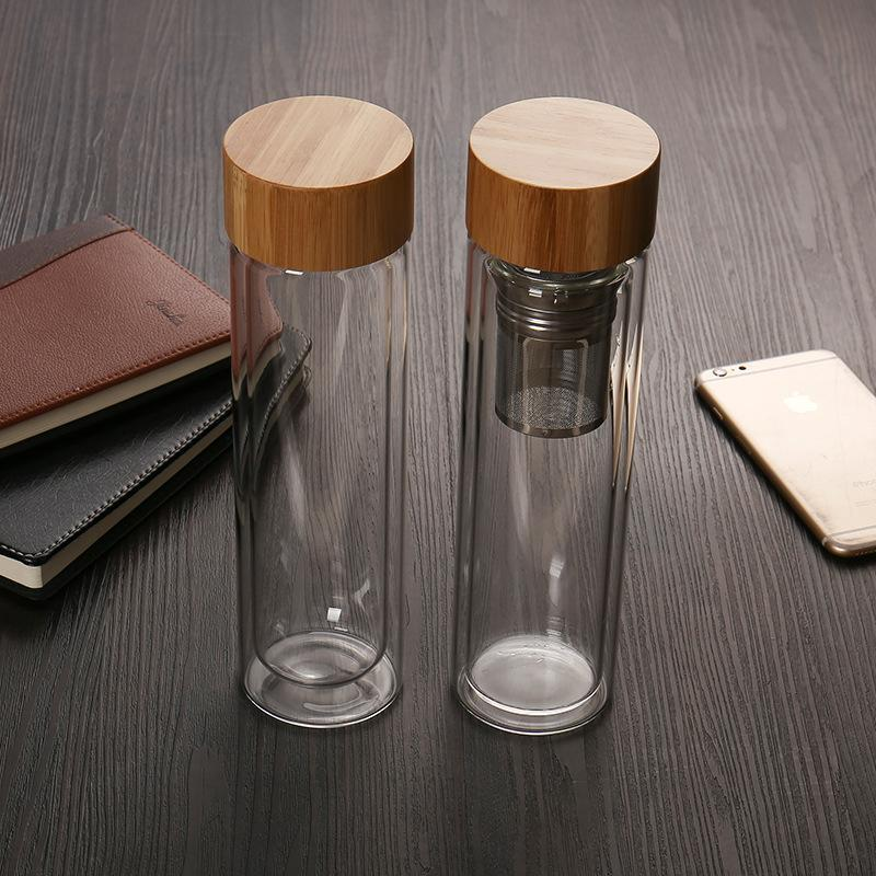450ml Water Bottles with Bamboo Lid Double Walled Glass Tea Cup with Tea Infuser Basket