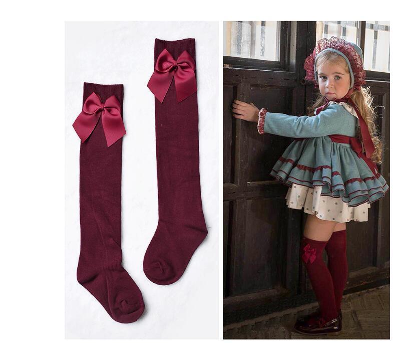 Härlig barns tjejs kungliga stil båge knä high socks.Baby toddler bowknot socks.kid's thighhighs över knä sock sox 3-11y 3pires / 6pcs