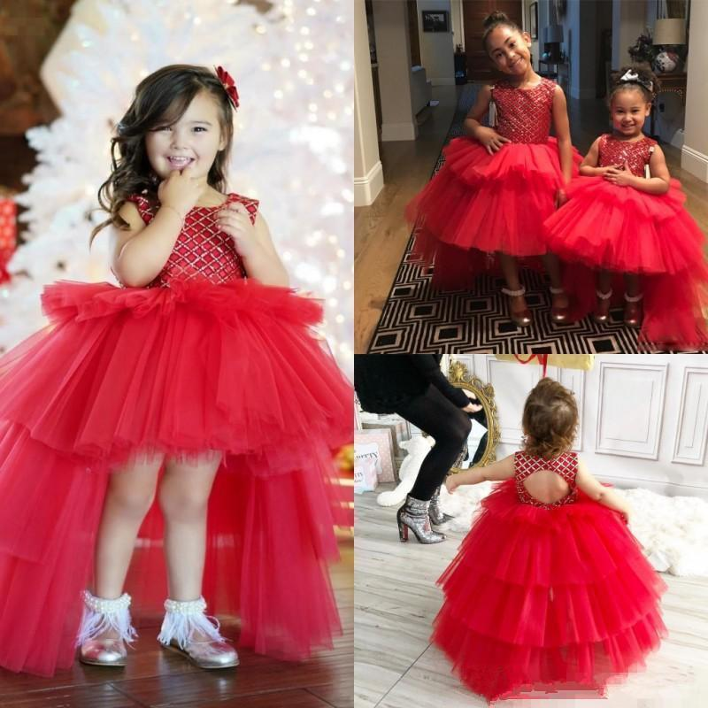 Red Tulle High Low Puffy Toddler Girl Pageant Dresses Jewel Neck Backless Princess Wedding Flower Girls Dresses P134
