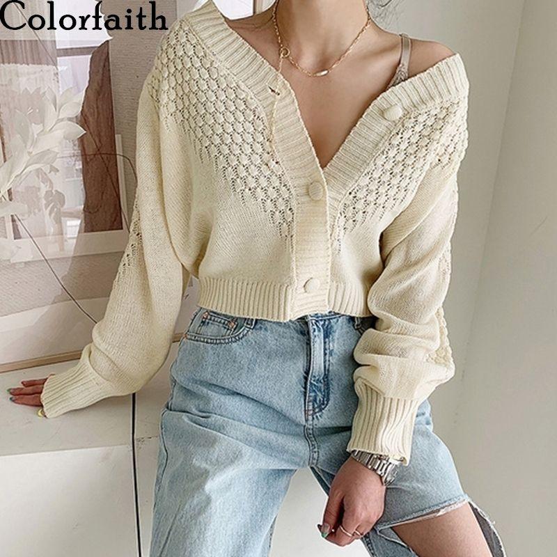 Colorfaith осень зима женская V-образная выречка сексуальная обрезанная трикотажная одежда вязаная кнопка короткие кардиганы корейские свитера SWC5193 Y200915