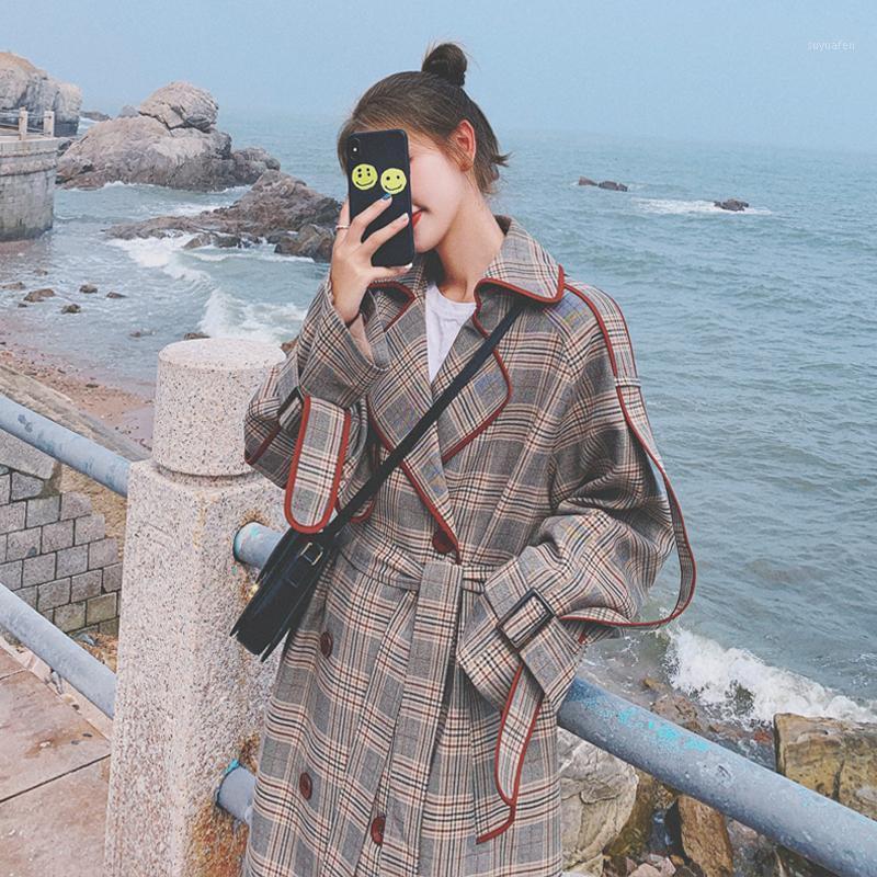 2020 Outono Long Windbreaker Casacos Solta Casual Moda de Alta Qualidade Mulher Manta De Jaqueta Manta Cobreza Para Mulheres1