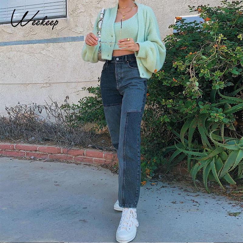 Weekeep patchwork streetwear jeans calças coloridos calças vintage calças de carga mulheres coreanas jeans straight harajuku fêmea capris longos