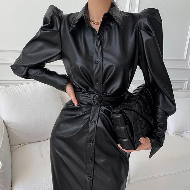 Günlük Elbiseler Faux Deri Elbise Uzun Puf Kollu Siyah Vintage Singel Göğüslü Kemer Maxi Giyim Kore Side Bölünmüş KPOP XC134