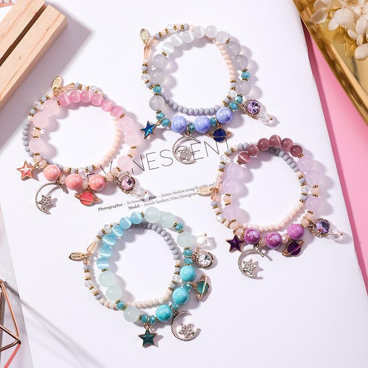 Braccialetti di fascino multi strati donne ragazze stelle stelle luna gatto occhio cristallo braccialetto femmina semplice giapponese e coreano gioielli carino1