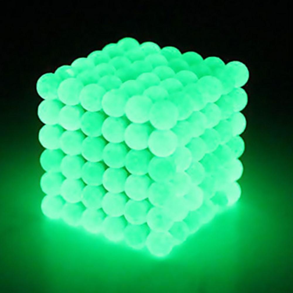 3 ملليمتر 216 الفلورسنت الأخضر لغز مكعب باك الكرة المغناطيسي الكرة الضغط الإبداعية لعبة مضيئة ديي