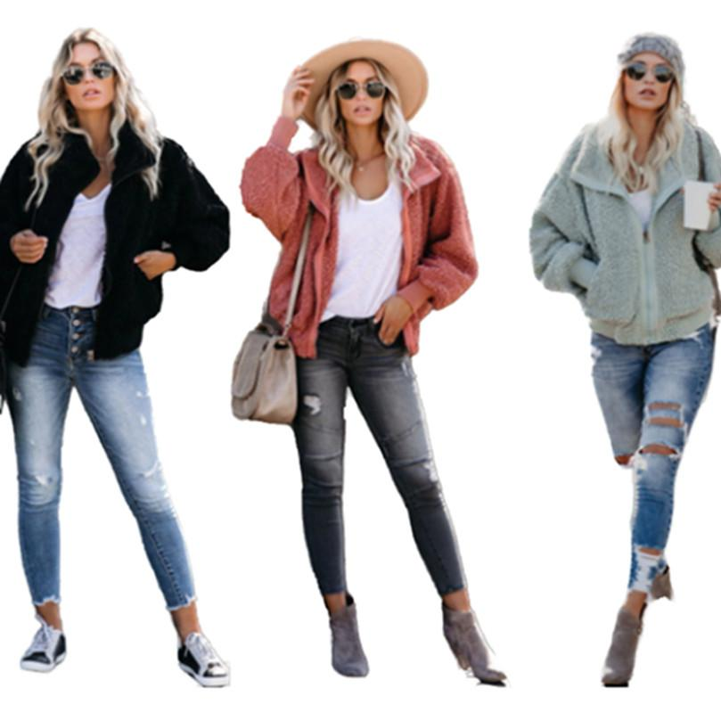 Женские женские куртки сгущающиеся осенью зима одежда теплые пальто добавить шерсть верхняя одежда с длинным рукавом толстовки на молнию кардиган простая толстовка стильный 0730