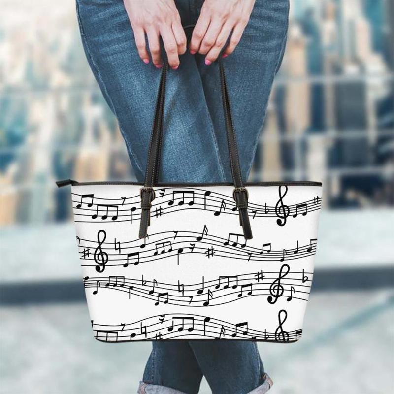 Maniglia Design Nota Top Customeld Handbag Sheet Donne Musica Musica PU a spalla Shopping Bags KeiBC Borsa in pelle Ladies per modello Nuova borsa WPACD