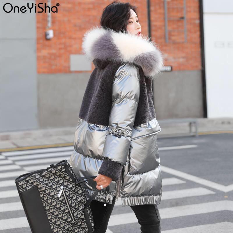 Kış Büyük Kürk Yaka Parkas Ceket Kadınlar Kalınlaşmak Sıcak Ceket Kaban Uzun Kış Mont Artı Boyutu Bayanlar Aşağı Yastıklı Palto 201124