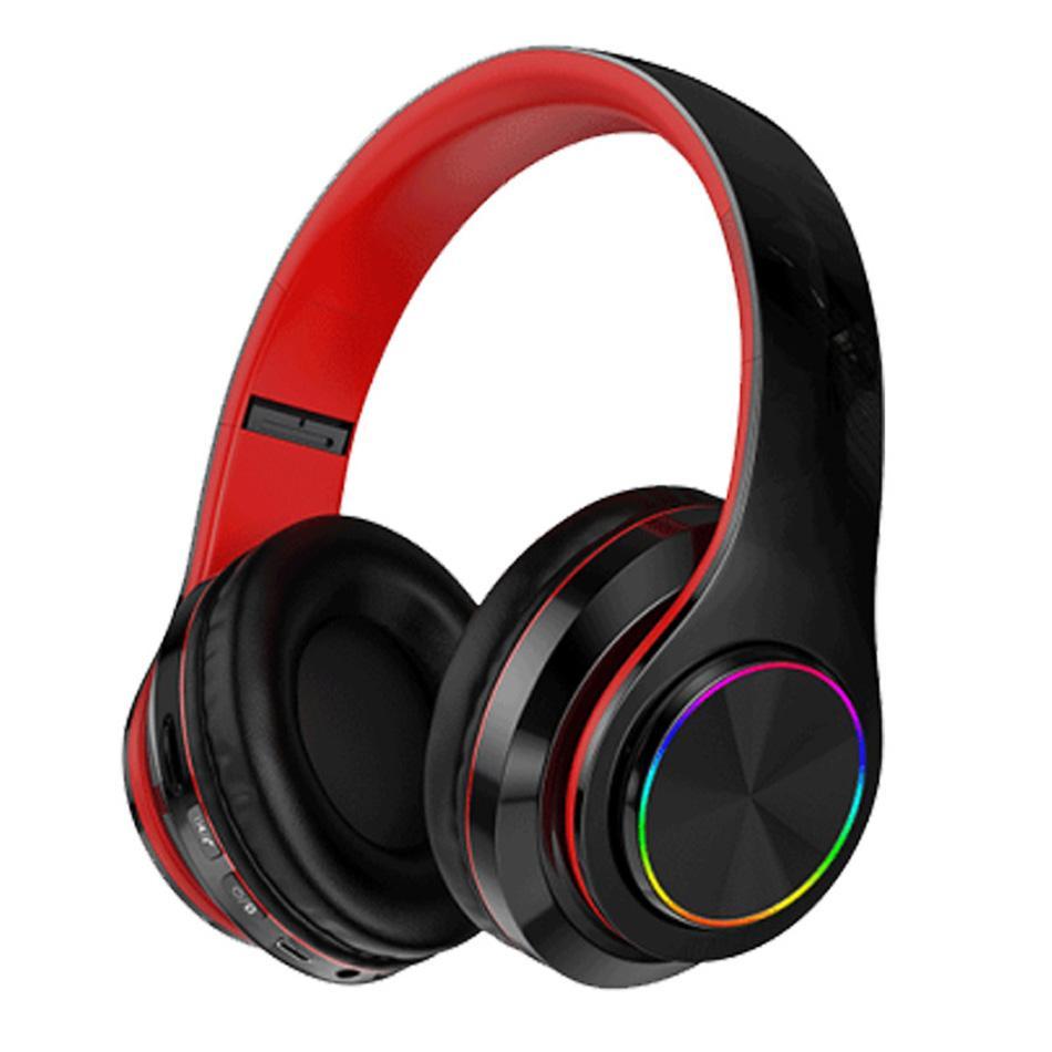 B39 Cuffie Bluetooth senza fili B39 LED Luci di respirazione colorate colorate Auricolari pieghevoli Auricolari Stereo Auricolari con supporto microfono TF Scheda MP3