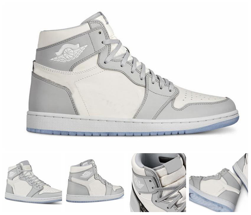 2021 New 1 1S High Og Gray Mens 농구 신발 여성 야외 스니커즈 트레이너는 상단 크리스탈 바닥에 엠보싱 Zapatos