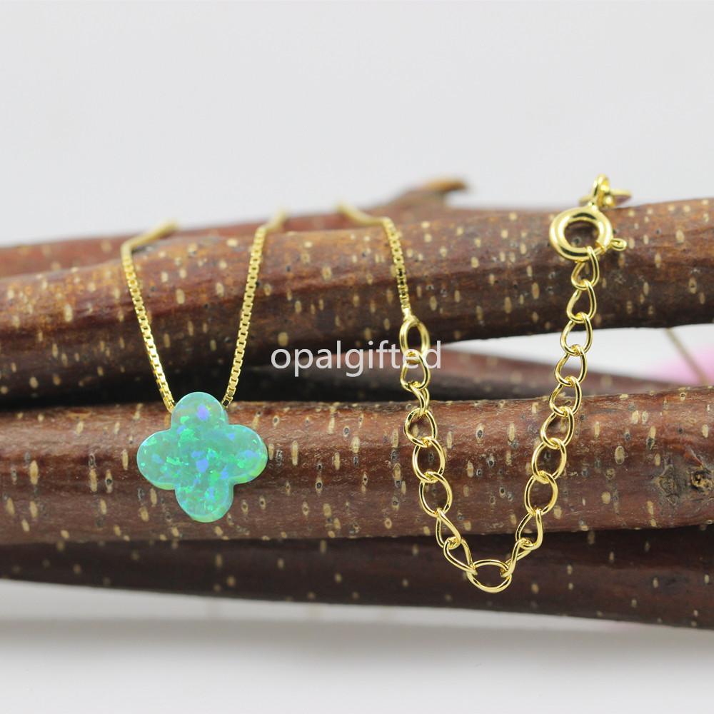 Freies verschiffen 2020 neue stil op11 grün vier blattklee synthetische opal halskette 4 clover halskette gold kette für frühlingsgeschenk z1126