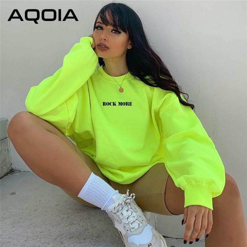 Aqoia Harajuku Oansatz Langarm Lose Brief Fluoreszierende Grüne Sweatshirt Frauen Herbst Winter Dicke Pullover Kleidung 201203