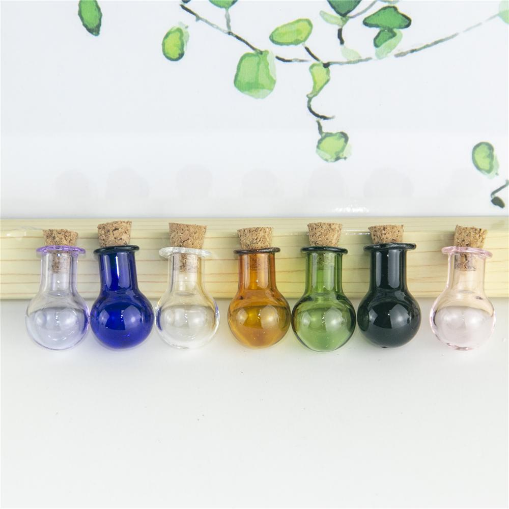 7PCS 2ML من مصباح صغير لمبة شكل زجاج الحلي مع لون مختلف وحرفة الفن قوارير العطور ورغبة سفر الفرعية زجاجات