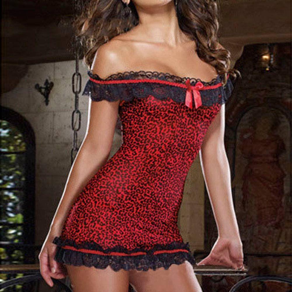 New Ladies Leopard Lace Sexy Lingerie Nightgown Women Thongs Night Dress One Word Collar Sleep Dress Nightwear Pajamas