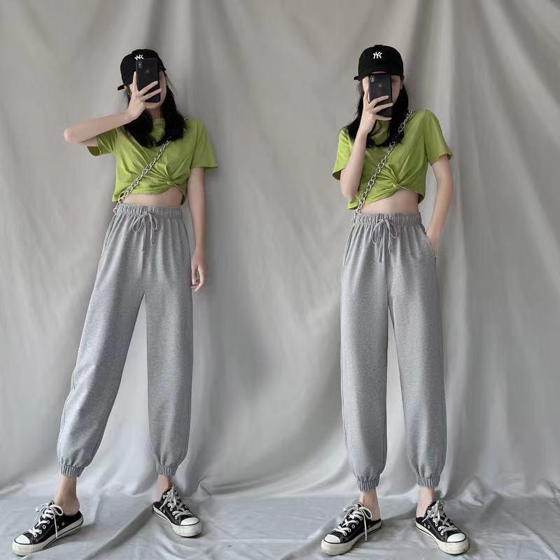 2021 otoño e invierno gris suelto gran tamaño de ocio harem pantalones pantalones de mujer más terciopelo engrosado pantalones de chándal