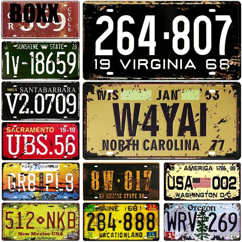 2021 US Numéro de voiture Numéros de voiture Métal Plaque d'immatriculation Plaque Vintage Tin Enseigne Metal Signes Vintage Bar Décoration Métal Affiche Métal Publier Postus
