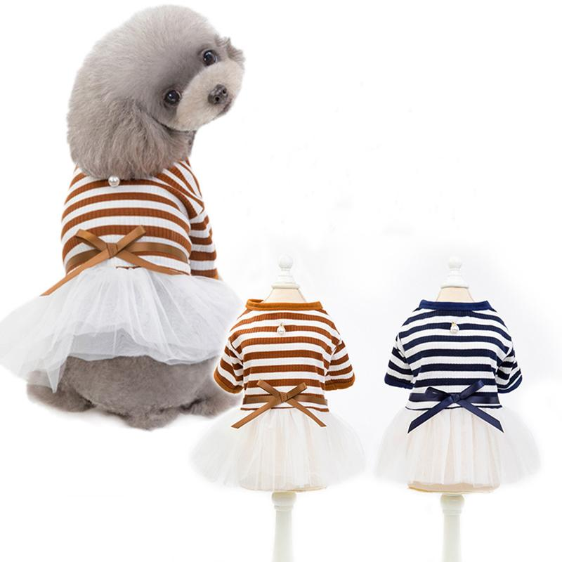 Classic Striped Printed Pet Dog Dress Cute Teddy Puppy Schnauzer Dresses Spring Summer Mesh Cotton Dog Apparel