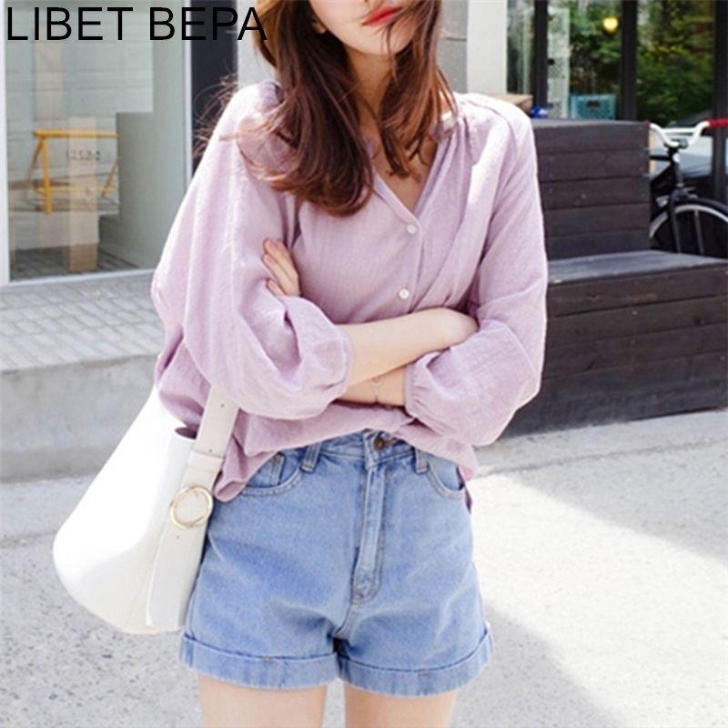 Yeni Bahar kadın Bluz Rahat Moda Kore Tarzı V Yaka Gömlek Gevşek Fener Kollu Pamuk ve Keten BL1710 201201 Tops