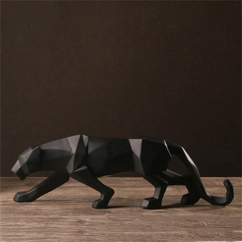 Resin Abstract Black Panther Sculpture Figurine Handicraft Home Desk Decor Geometric Resin Wildlife Leopard Statue Craft