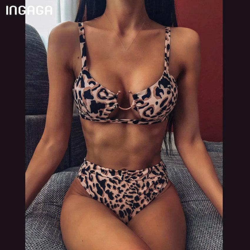 High Cintura Ingaga 2020 Push Up Swimsuit Leopard Swimwear Bikini Blanco Set Biquini Sexy Traje de baño Mujer 1TX6