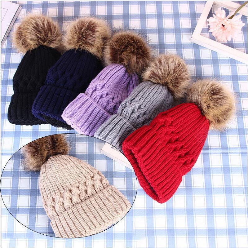 Шапочки / черепные колпачки обжимной защиты вязаные шляпы шерсть шар мода теплые помпом женщины сплошной цвет осень и зимний стиль шапочки 6