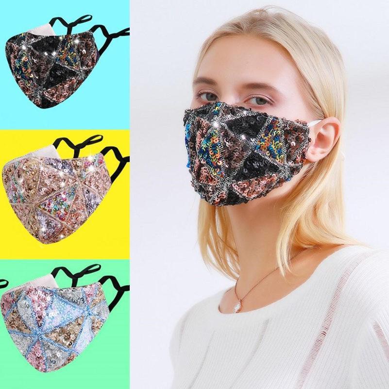 US Stock Rhinestone Face Masketetive 마스크 크리스탈 다이아몬드 스파클 재사용 가능한 빨 수있는 천으로 얼굴 커버 PM2.5 성인 안티 먼지 FY0113