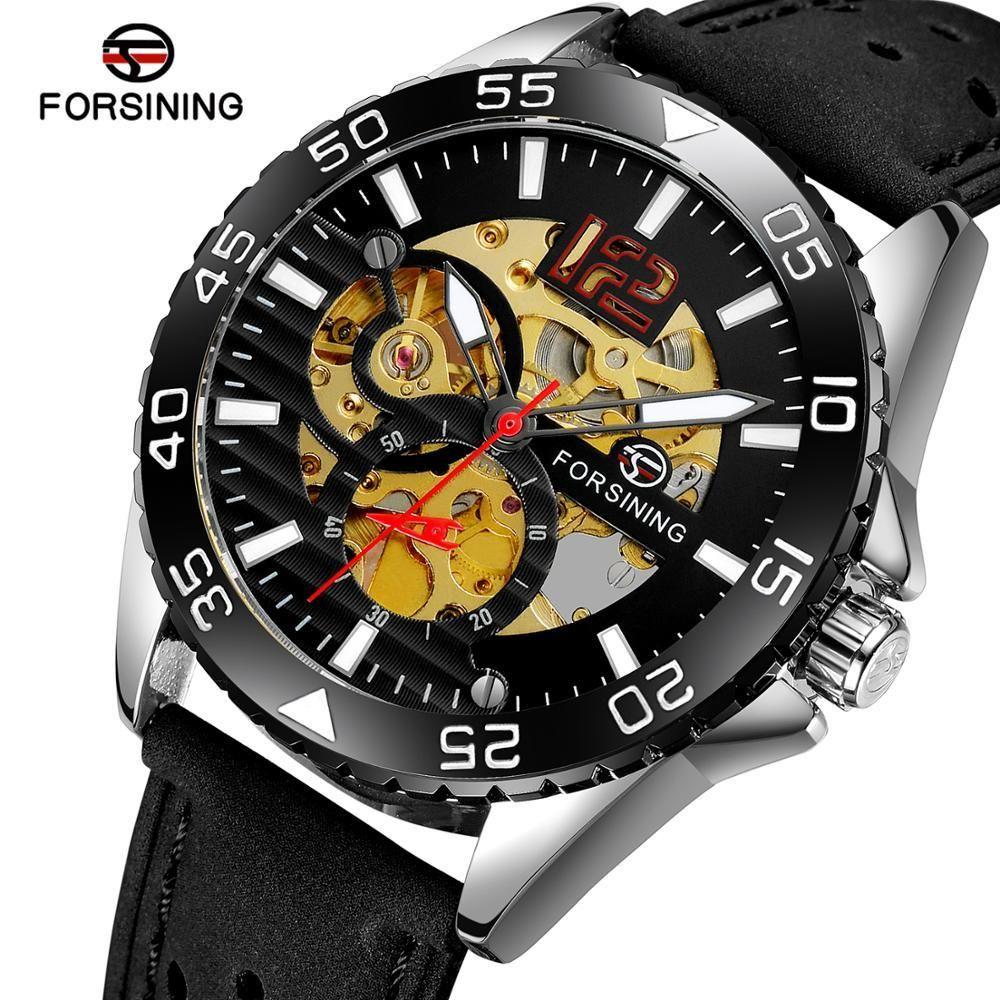 2019 Новый Forsing Mens Analog Механический Самозаветривающий Скелет Классический Специальный дизайн Наручные часы с Натуральным Кожаным Ремешком
