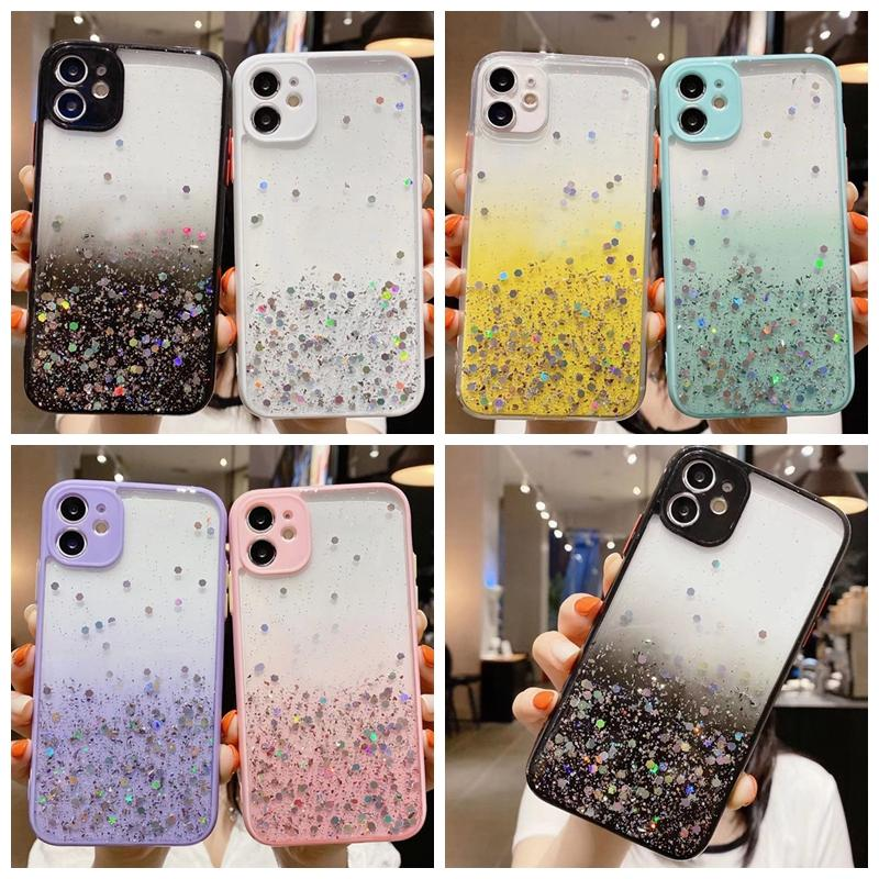 Bling Folyo Glitter Sert PC + TPU Kılıf iphone 12 Mini 11 Pro Max XR XS Max X 8 7 6 Yıldız Degrade Şeffaf Konfeti Pullu Pul Kapak