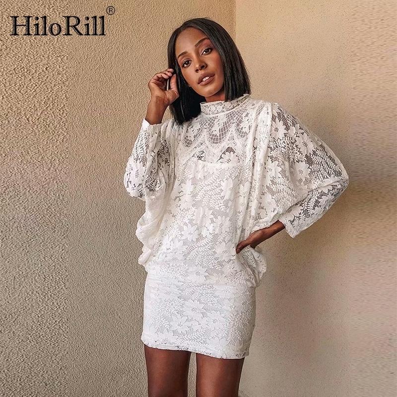 Hilorill mujer encaje vestido blanco manga batwing conjunto de dos piezas mini vestido elegante soporte cuello ahueca fuera vestidos de fiesta de las señoras B1202