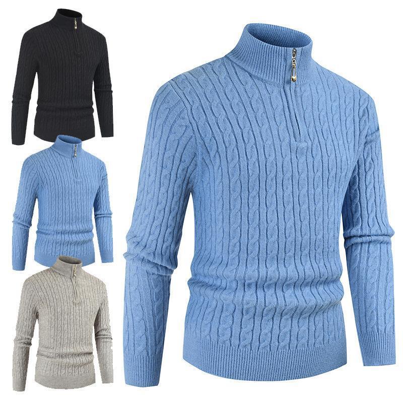 Autunno inverno Maglione da uomo TurtrleNeck Maschio Slim Twist Twist Maglia PullOvers Solid Color Casual Zipper Maglioni Top Abbigliamento
