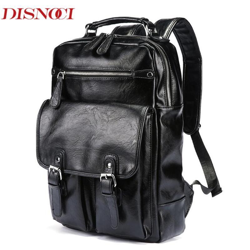 """Hombres Business Casual Backpacks 14 """"Laptop School School Bag Negro PU cuero Moda Moda Hombro Bolsos Vintage Boys Mochila"""