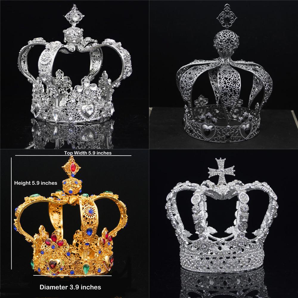 Royal Queen King Crown Männer Runde Diadem Braut Tiaras und Kronen Kopfschmuck Prom Hochzeit Haarschmuck Party Ornament Männlich Y1130