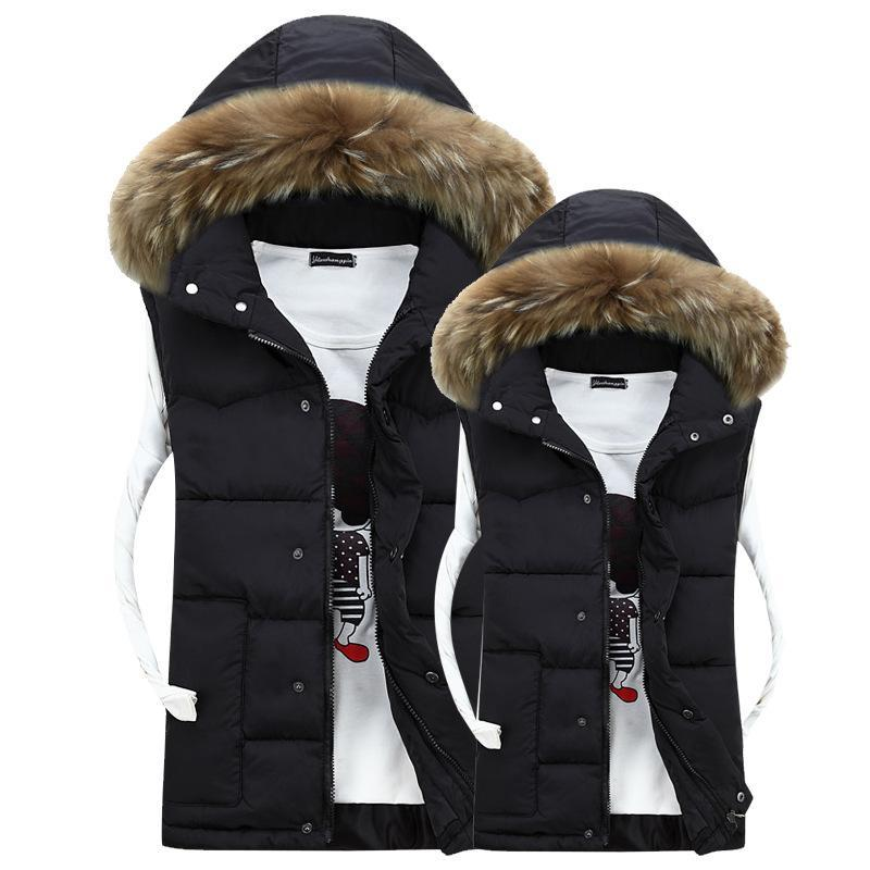 Pareja de cuello de piel grande casual de los hombres use invierno cálido grueso de algodón chaleco