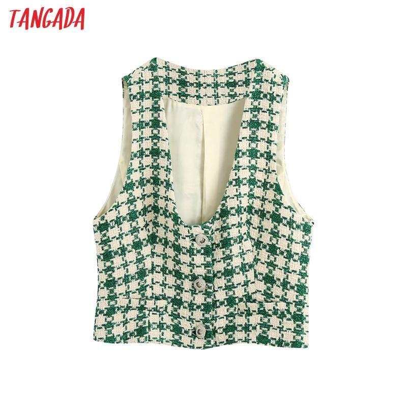 Chalecos de mujer TANGADA 2021 Mujeres Green Plaid Tweed Waistcoat Chaleco Abrigo Botones Ladies Estilo corto Sin mangas Blazer Top BE157