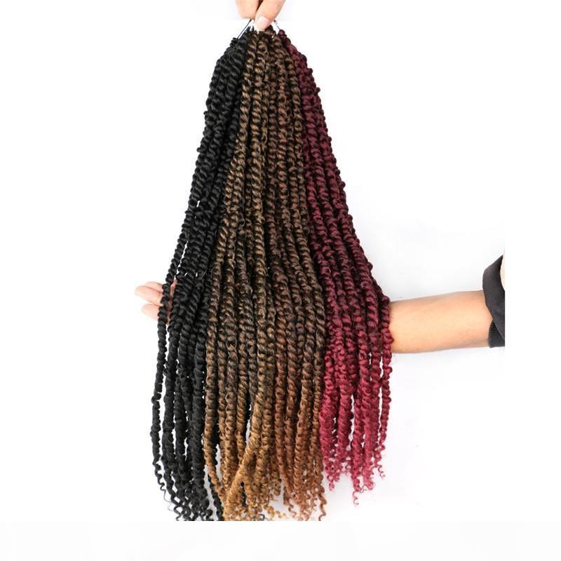 Passion Twist 24-Zoll-flaumig Pre-Twist Black Pre gestreckt Ombre Flecht-Haar 100g PC Synthetische Häkelzähne Haarverlängerung
