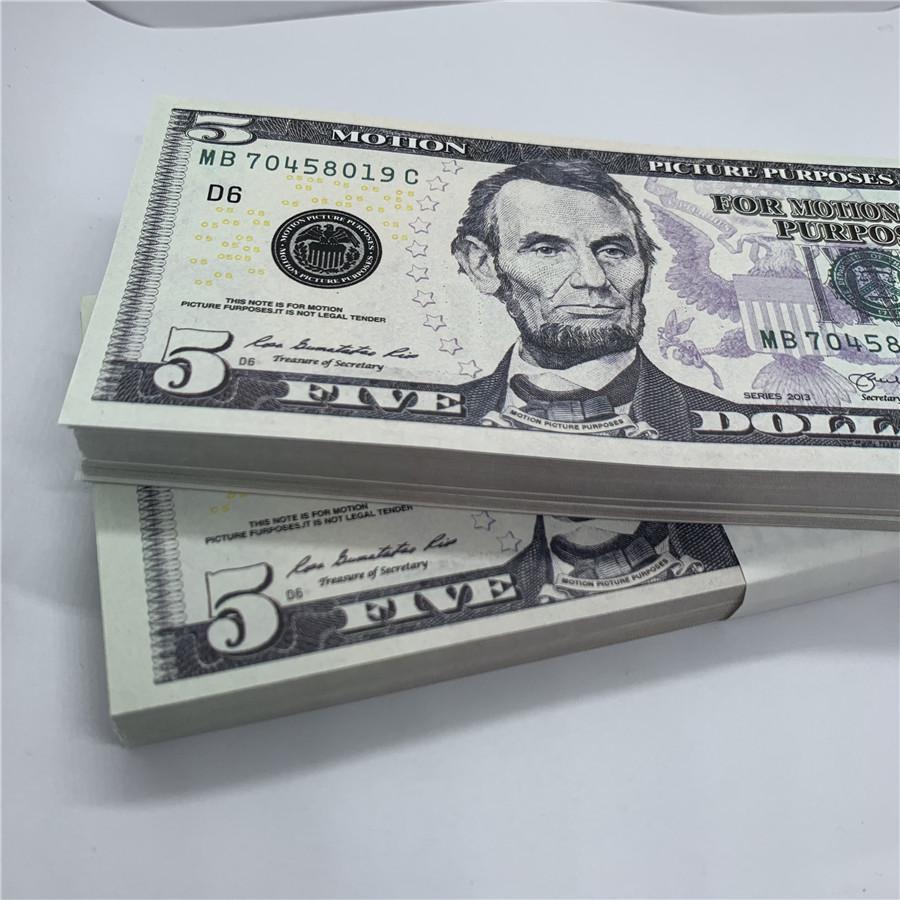 Schießen dollar 5 f3 kopieren banknoten amrt geld geschmiedet leistung bank u.s. urlaub gefälschte kinder requisiten bar spielzeug rlanv