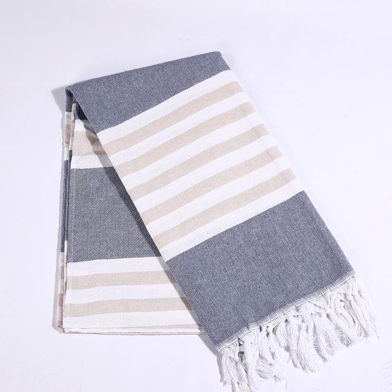 Striped Cotton Turkish Women Beach Towel with Tassels Summer Gym Pool Blanket Shawl Bath Drape 100x180cm
